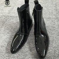 18 роскошные высокие ручной работы острый носок Лакированная кожа T Stage Роскошные сапоги ботильоны на танкетке Челси Для мужчин Zip Boots