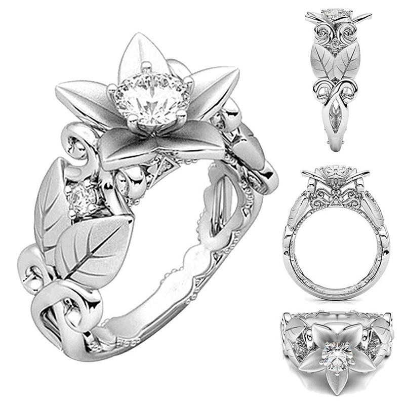 Rings For Women Hot Fashion Elegant Beautiful Floral Rose