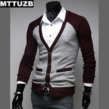 MTTUZB Long sleeve man casual knitwear men's fashion patchwork sweaters male costume men cardigan clothes 3 colors size M-XXL