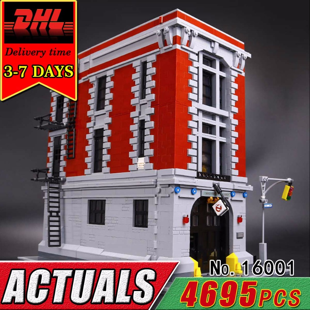 DHL LEPIN 16001 Ghostbusters Firehouse Headquarters Model Building Blocks Set Compatible 75827 Bricks Classic Toy Children Kids 2017 new lepin 16001 4705pcs ghostbusters firehouse headquarters model educational building kits model set brinquedos 75827
