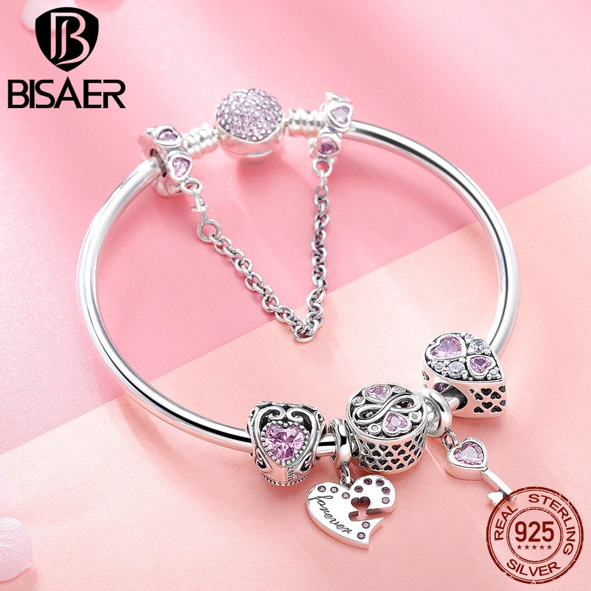 BISAER 7Pcs 925 Sterling Silver Heart Key And Locket Heart Pendant Brand Charm Bracelet For Women