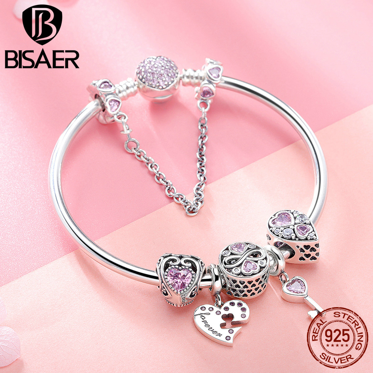 BISAER 7Pcs 925 Sterling Silver Heart Key And Locket Heart Pendant Brand Charm Bracelet For Women Wedding Silver Bangle GXB811 bisaer 7pcs 925 sterling silver heart key and locket heart pendant brand charm bracelet for women wedding silver bangle gxb811