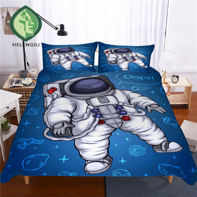 HELENGILI 3D Bedding Set Astronaut Print Duvet Cover Set Lifelike Bedclothes with Pillowcase Bed Set Home Textiles #SG-06HELENGILI 3D Bedding Set Astronaut Print Duvet Cover Set Lifelike Bedclothes with Pillowcase Bed Set Home Textiles #SG-06