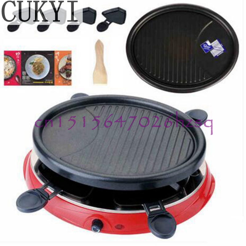 CUKYI household Electric Grills & Electric Griddles Barbecue Smokeless Plate Multifunctional frying pan 900W with four dishes cukyi seven ring household electric taolu shaped anti electromagnetic ultra thin desktop light waves