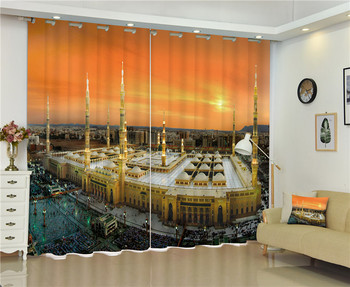 Mosque at dusk 3D Galaxy Universe Blackout Curtains For Living room Bedding room Decor Tapestry Wall Carpet Drapes Cotinas