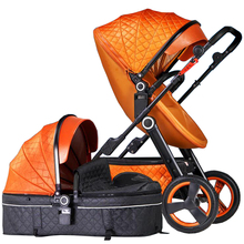 baby stroller 2 in 1 High landscape four wheel trolley Can sit and lie down Folding light eggshell folding portable trolley цена