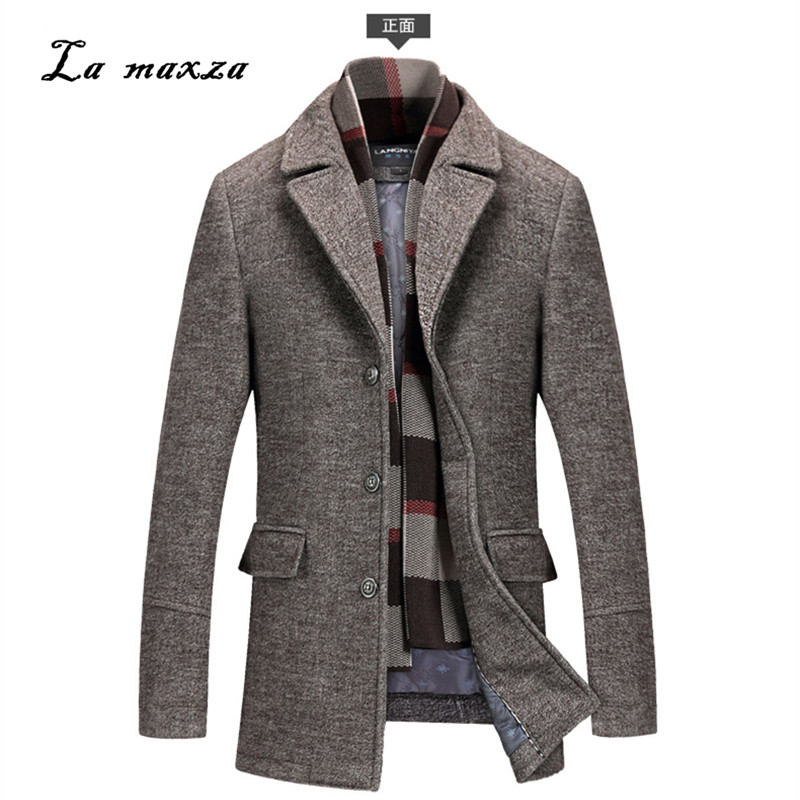 Dress Coat Plus-Size Casual Winter Mens Fashion Slim Smart Formal Long News