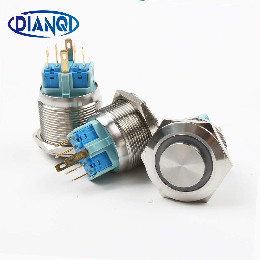 25mm Stainless Steel Metal Push Button Switch Round Momentary 4 Pin Terminal Car Switches Latching Reset 1no1nc Pure And Mild Flavor Lights & Lighting Switches