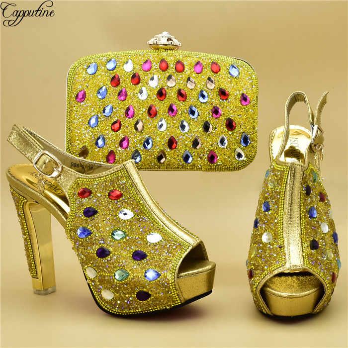 Zarif açık mavi parti seti pompaları ve çanta seti güzel ayakkabılar akşam çanta seti parlayan taşlar ile 988-3