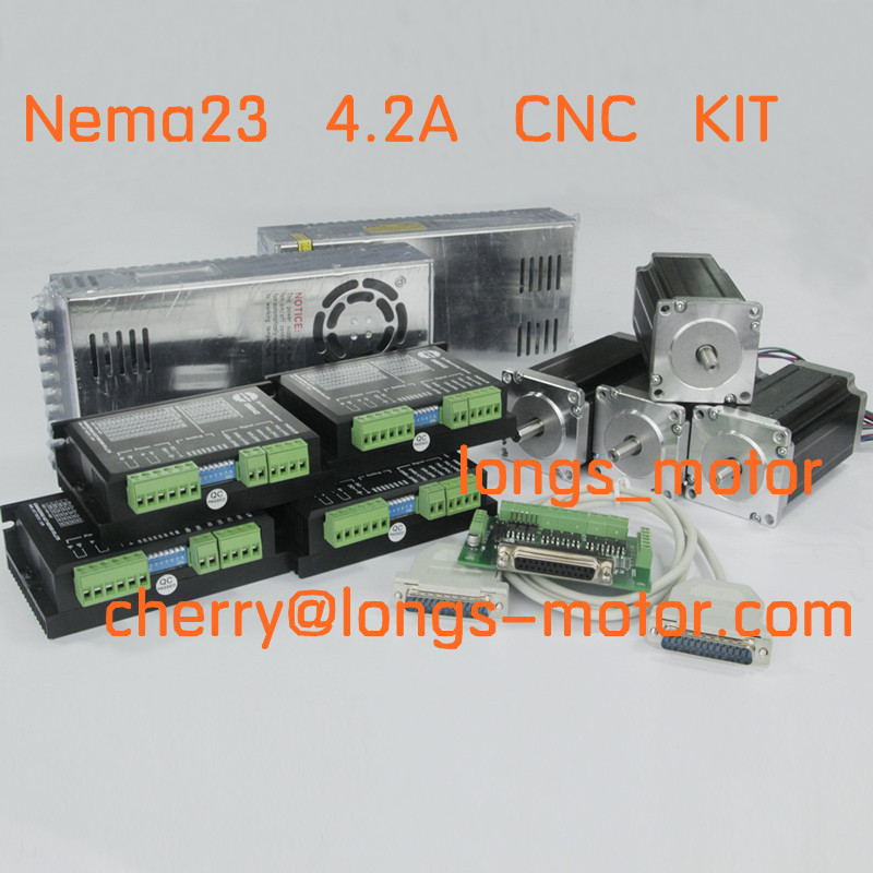 Nave da usa-Tedesco Warehous 4 assi Nema23 stepper 2.8NM motore 4.2A 4 WIRES CNC kit del controller Laser Mill Incisione