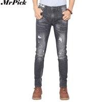 2017 Nieuwe Mannen Slanke Potlood Jeans Donkergrijs Fashion Casual Designer Brand Ripped Skinny Jeans s0627-003