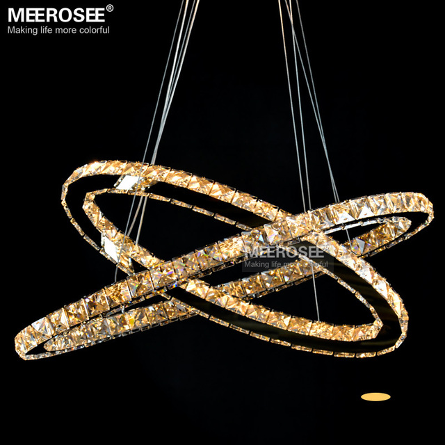 Oval LED Dinning Pendant Light Fixture Modern Crystal Lustre LED Diamond  Lamp Mirror Stainless Steel Light