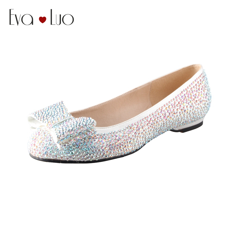 CHS466 Custom Made Multicolor AB Rhinestones Crystal Women Flat Shoes Bridal Wedding Shoes Dress Shoes Ballet