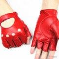 Guantes de cuero de las mujeres guantes de cuero semi-mano viajes conducción guantes guantes deportes al aire libre 100% de cuero completo precio