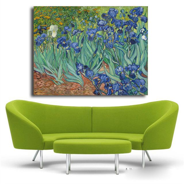 Exceptional Large Printed Picture Cheap Wall Art Impressionist Art Van Gogh Irises 1889  Reproductions Of Famous Paintings
