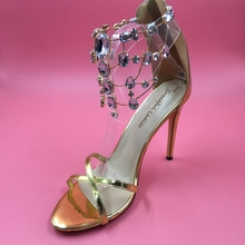Golden Crystals Ankle Strap Sandal Women High Heel Stilettos Sandals with Heels Woman Shoes 2016 Summer Sandalias Mujer