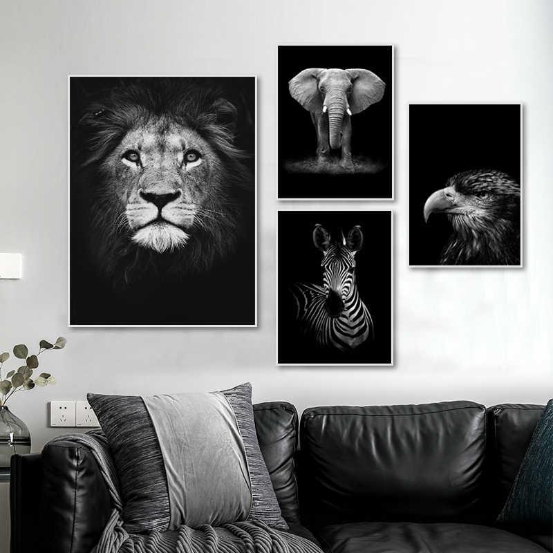 Modern Doga Yaban Hayati Afrika Vahsi Hayvanlar Siyah Beyaz Tuval