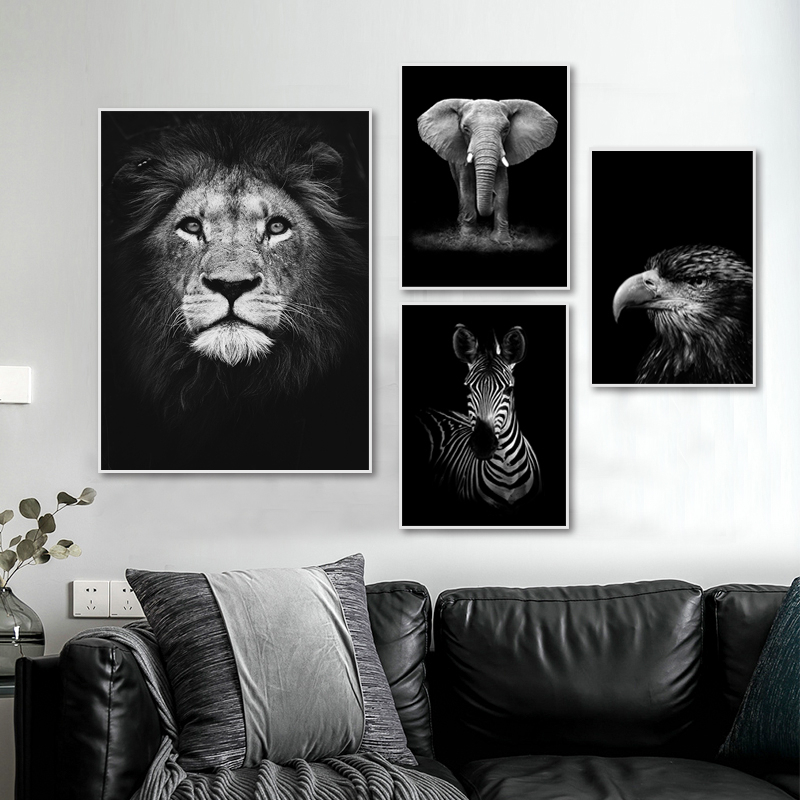 Modern Nature Wildlife Africa Wild Animals Black White Canvas Painting Poster Print Wall Art Picture For Living Room Home Decor