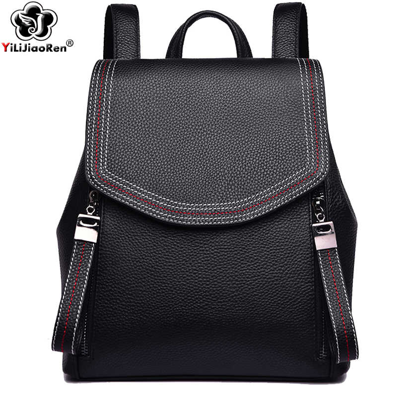 Fashion Thread Women Backpack Designer Genuine Leather Backpack Female Large Capacity Bookbag Simple Back Pack Mochila Feminina
