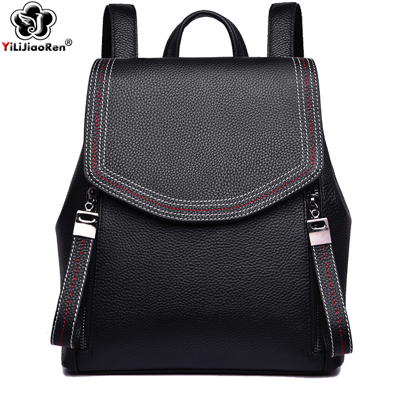 Fashion Thread Women Backpack Designer Genuine Leather Backpack Female Large Capacity Bookbag Simple Back Pack Mochila Feminina in Backpacks from Luggage Bags