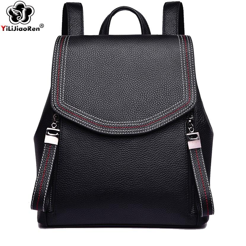 Mode fil femmes sac à dos Designer en cuir véritable sac à dos femme grande capacité sac à dos Simple Mochila Feminina