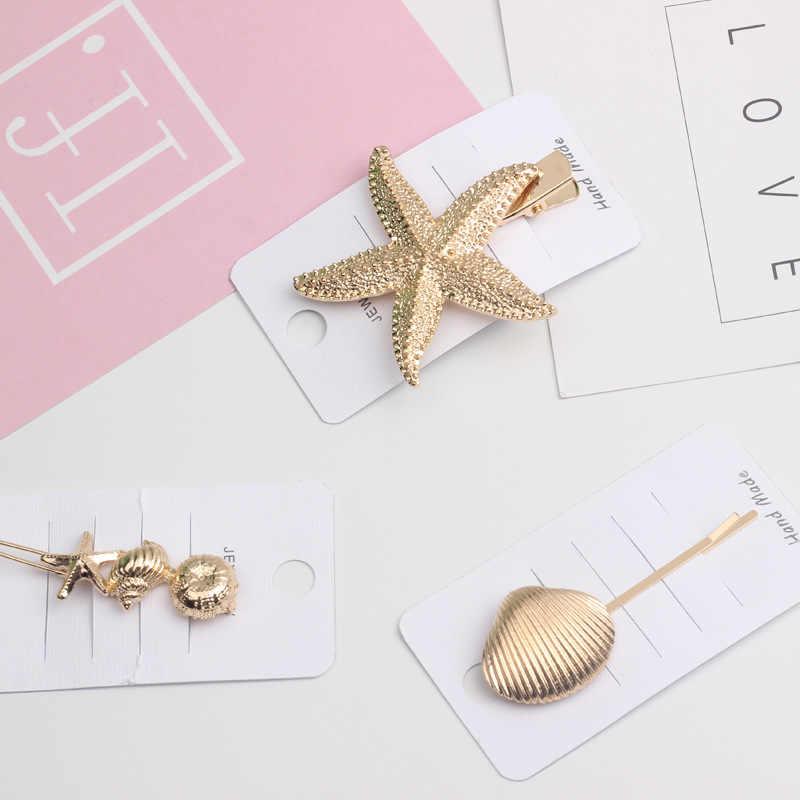 1 pcs NewKorea שיק שיער אביזרי מתכת זהב צבע חוף מעטפת כוכב ים מדומה פנינה שיער קליפים נשים שיער אבזרים