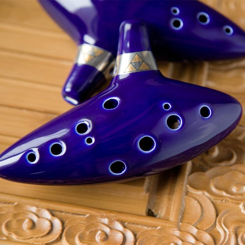 Musical Instrument Ocarina Ceramic Alto C Legend of Zelda Zelda Ocarina Three Color Flute Blue creative 12 hole pottery out