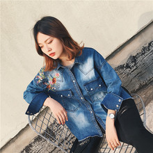 2017 spring womens clothing casual embroidered women tops denim shirt long sleeve women blouses pocket decoration