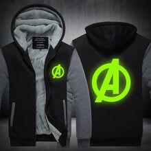 New Winter Jackets and Coats Captain America hoodie Luminous Hooded Fashion Thicken Zipper Men cardigan Sweatshirts Plus size