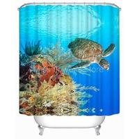 Морская черепаха океан пейзаж занавеска для ванной водонепроницаемый mildewproof полиэстер ткань с 12 Крючки 180 см * 180 см