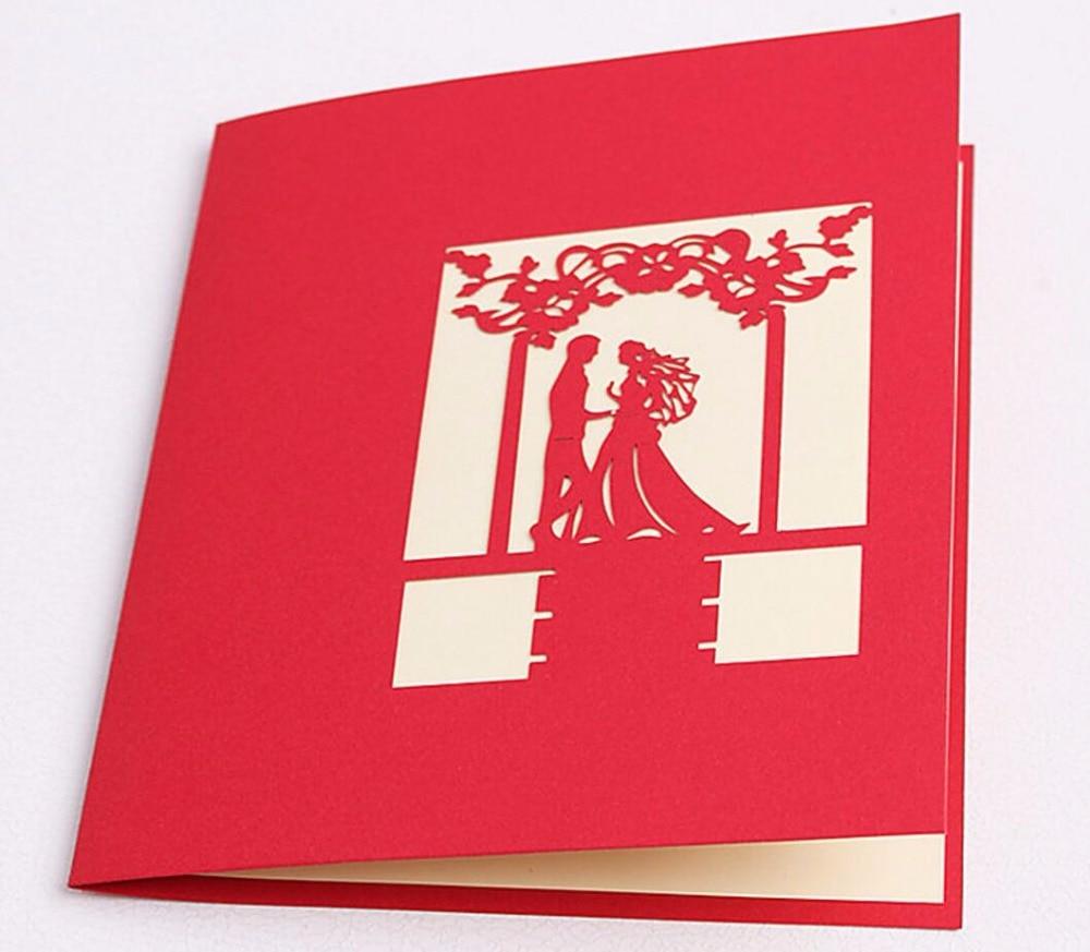49 stücke 49D Red Bäume Wald Paar Handgefertigte Kirigami Origami ... - 3d Einladungskarten Hochzeit