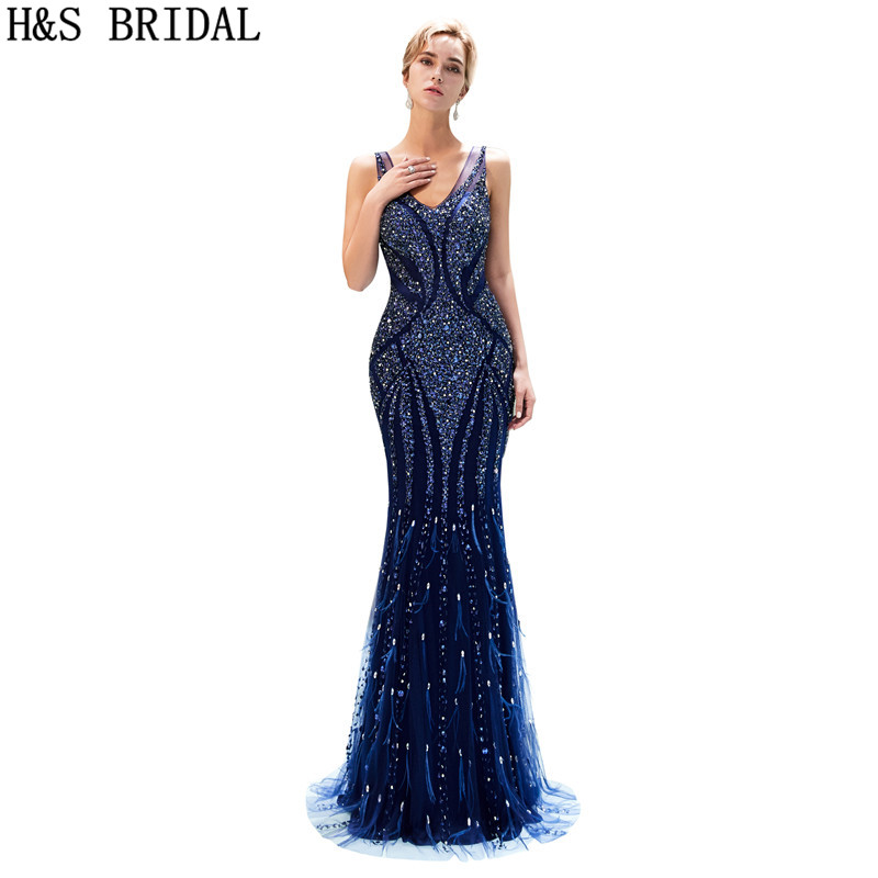 H&S BRIDAL Mermaid evening dresses long Navy Blue Evening Gown V ...