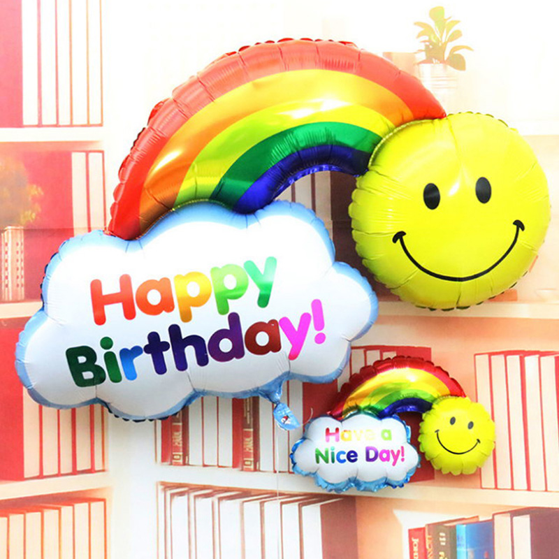 23*36cm Happy Birthday Balloon Aluminum Foil Balloons Have a Nice Day Large Rain