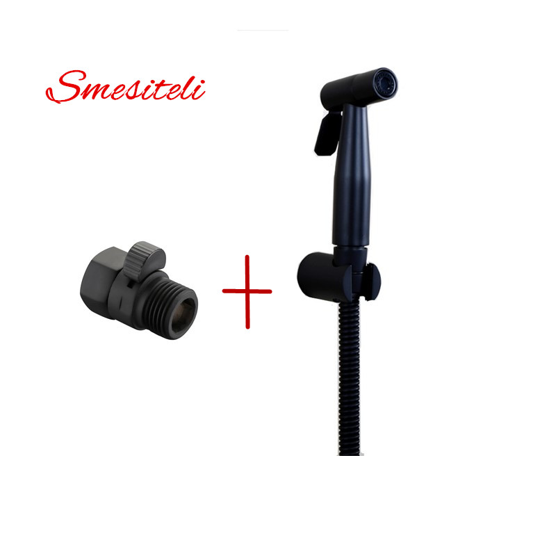 Smesiteli Modern Matte Black Handheld Sus304 Bidet Spray kit Shattaf Bath douche+Solid Brass Water Control Valve Shut Off valve