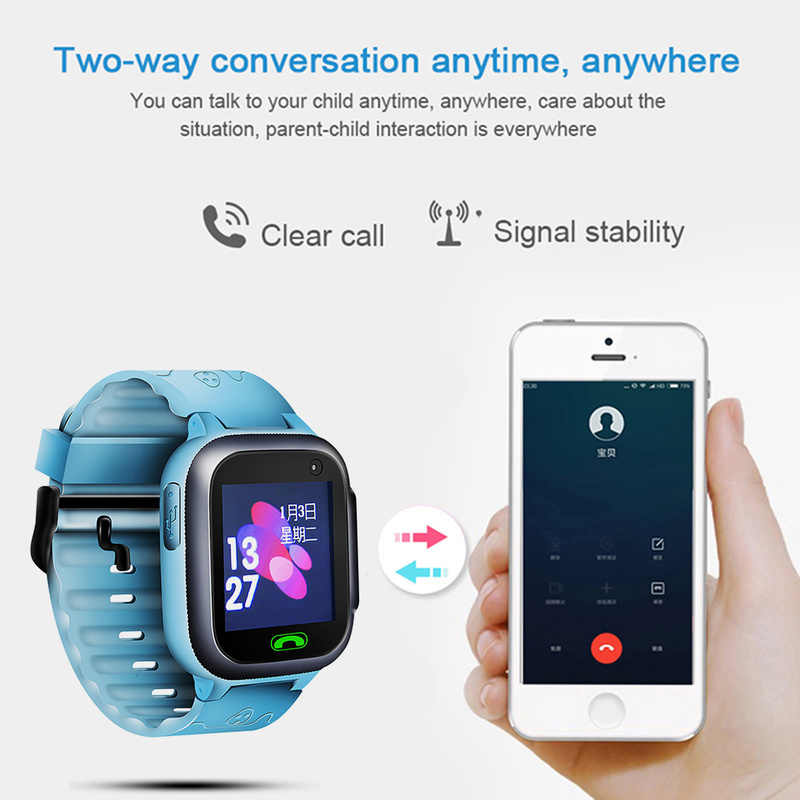 2019 Z1 Kids Smart Watch with Camera Lighting GPS Smart Watch Sleep Monitor SOS Anti-lost Children's Smartwatch Ios Android