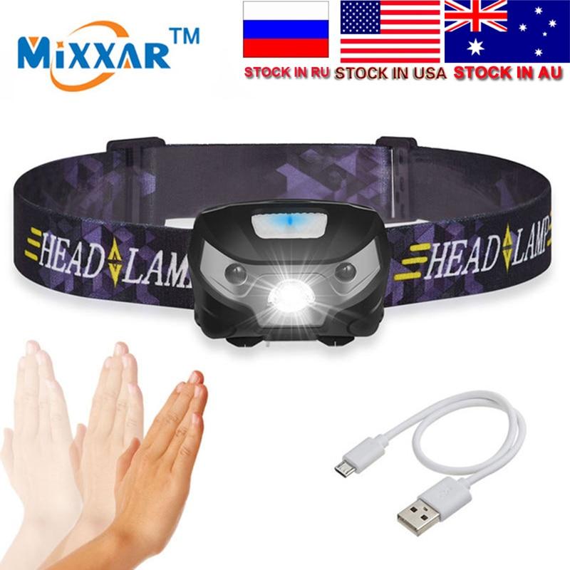LED kerékpár kerékpár könnyű ujj indukciós fényszóró 3000Lm vízálló kültéri kemping újratölthető fényszóró 3 mód készlet az USA-ban, AU