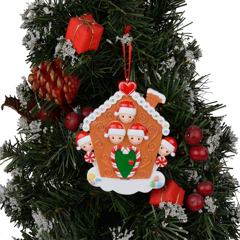 Maxora Personalized Gingerbread House Family of 5 For Christmas Home Decor Party Souvenir in Pendant Drop Ornaments from Home Garden