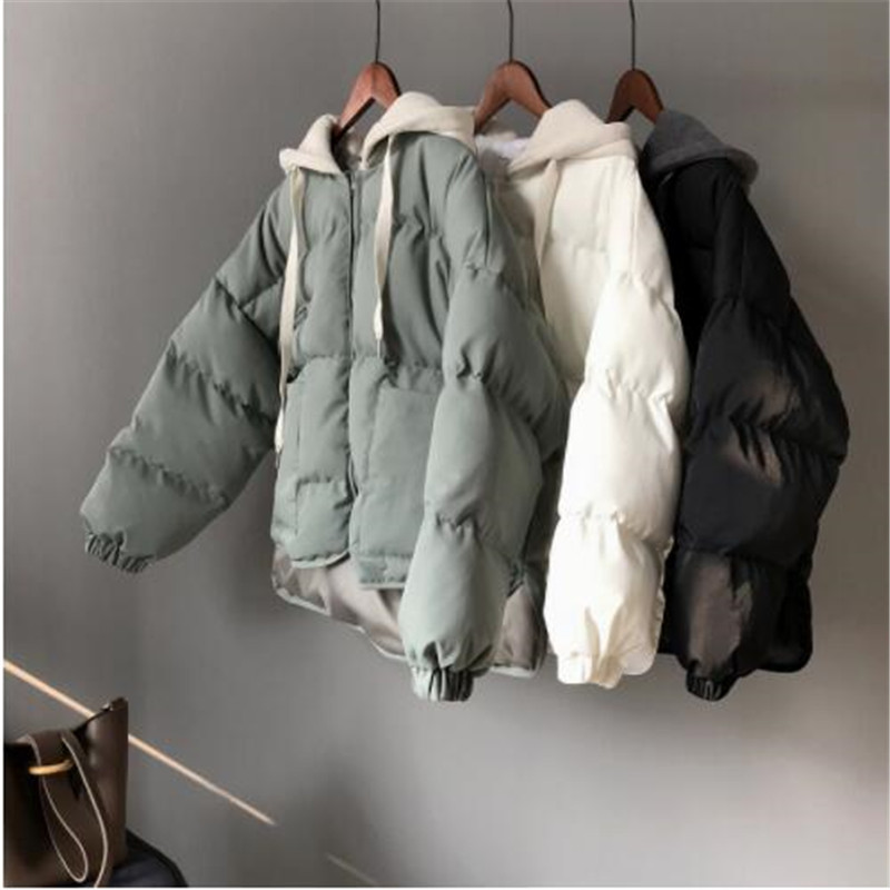 2018 Winter New Women Jacket Cap Pure Color Short Cotton Padded Coat Women's Bread Thickened