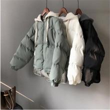 2018 winter new women jacket cap pure color short cotton padded coat women's bre