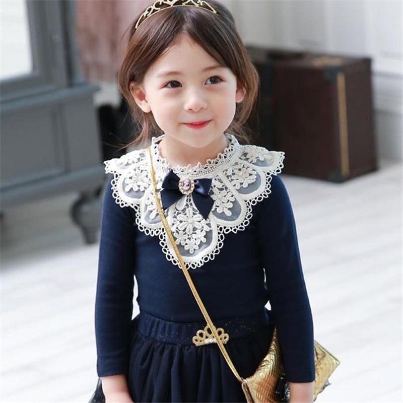 Mädchen Kleidung Langarm Stickerei Lace Garnituren Oansatz Shirts mit Bogen für Kinder Bluse Mädchen Frühling Übersteigt T-stücke Shirt