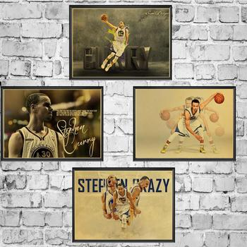 Basketball Star Stephen Curry Retro Poster Prints High Quality  Wall Stickers  For Living Room Home Decoration