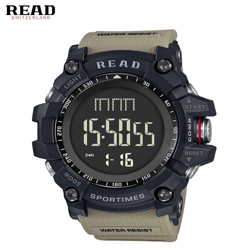 лучшая цена READ Sport Men Watches Digital Watch LED Men's Wristwatch Waterproof Clock 90002 Montre Homme Big Men Watches Military Stopwatch