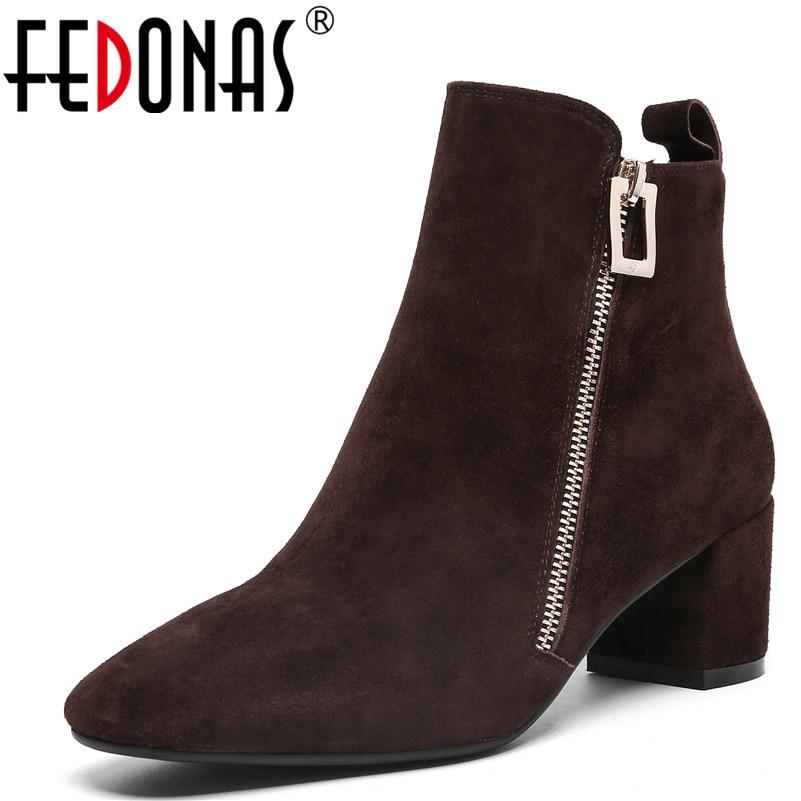 Cuir Office Zipper Fedonas1fashion marron Qualité Lady Chaussures Noir Daim  Bottes Chaud Cheville En Automne Talons Femmes Haute Hiver ... 6187637f0970