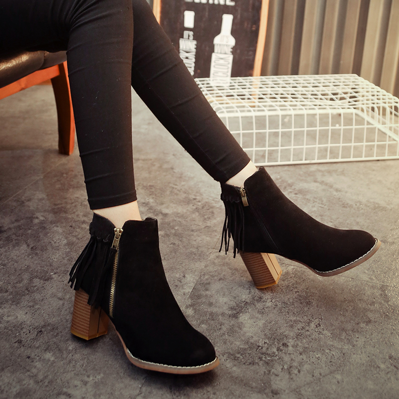 autumn and winter thick fringed boots with side zipper matte leather high-heeled round and ankle boots retro women's boots