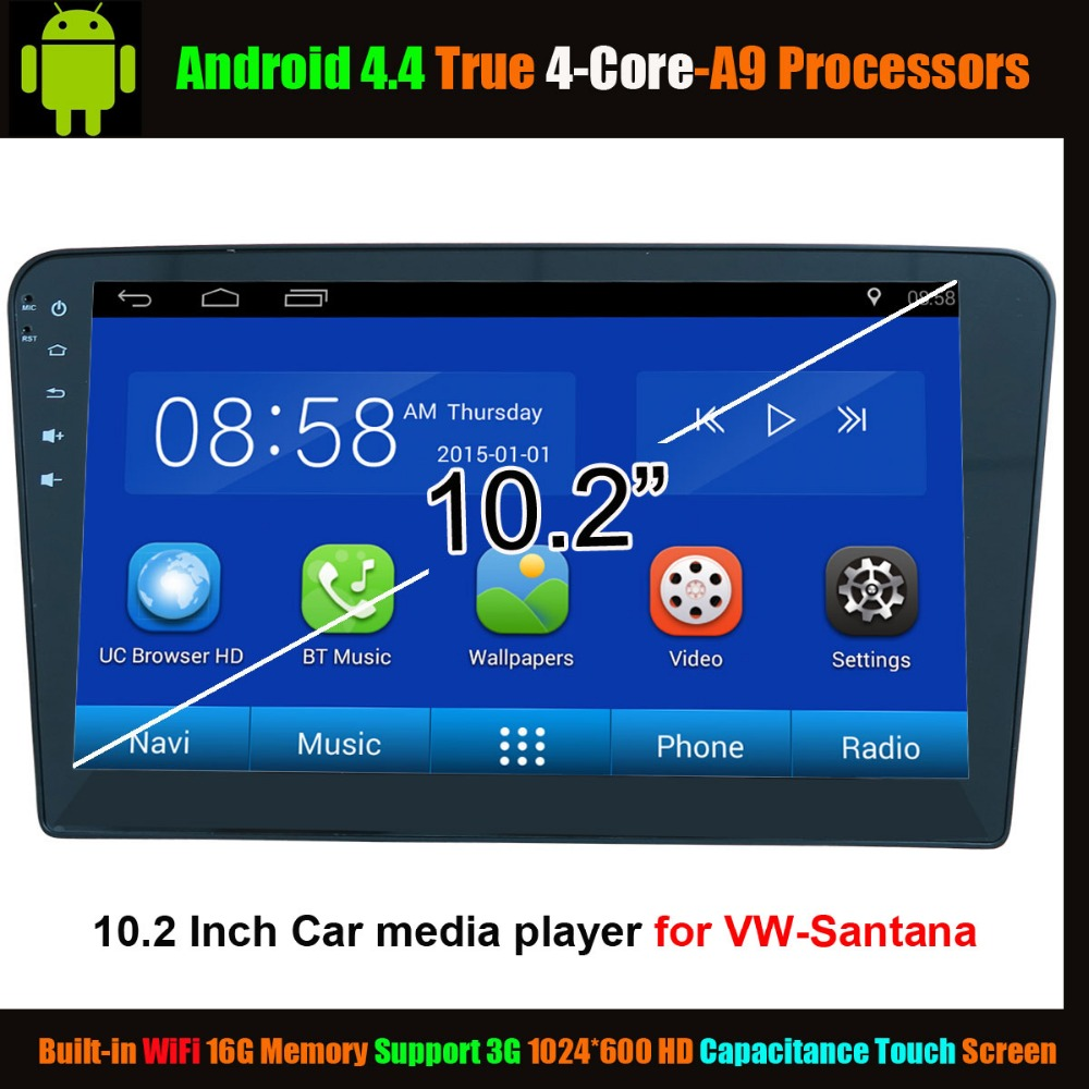 10 2 Car Media Player for Volkswagen VW Santana Android 4 4 True 4 Core WiFi