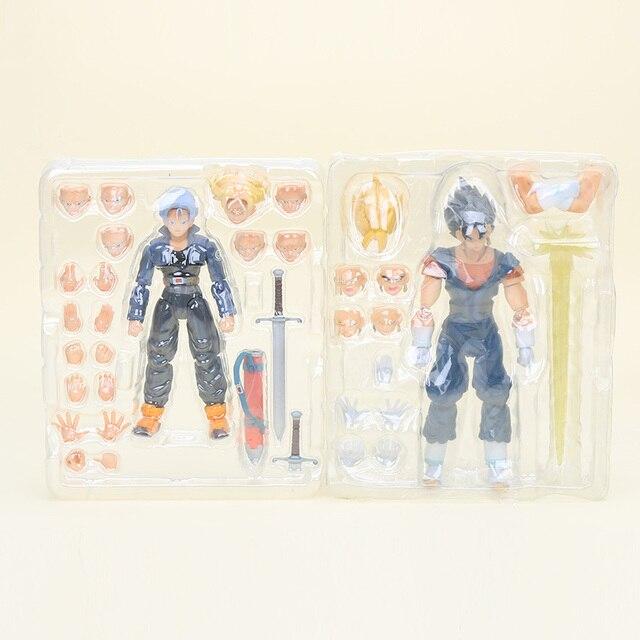 2 pçs/set DragonBall Dragon Ball Z GT Figuras de Ação Super Saiyan Trunks Vegeta Brinquedo DBZ Figuras SHF Vegetoo S. h. figuarts com Caixa