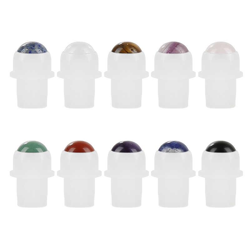 1 pcs Roll-On Chai Nhựa Màu Trắng Cap 6 Màu Sắc Tự Nhiên Đá Quý Con Lăn Bóng Nước Hoa Tinh Dầu Chai Đá Quý con lăn Bóng