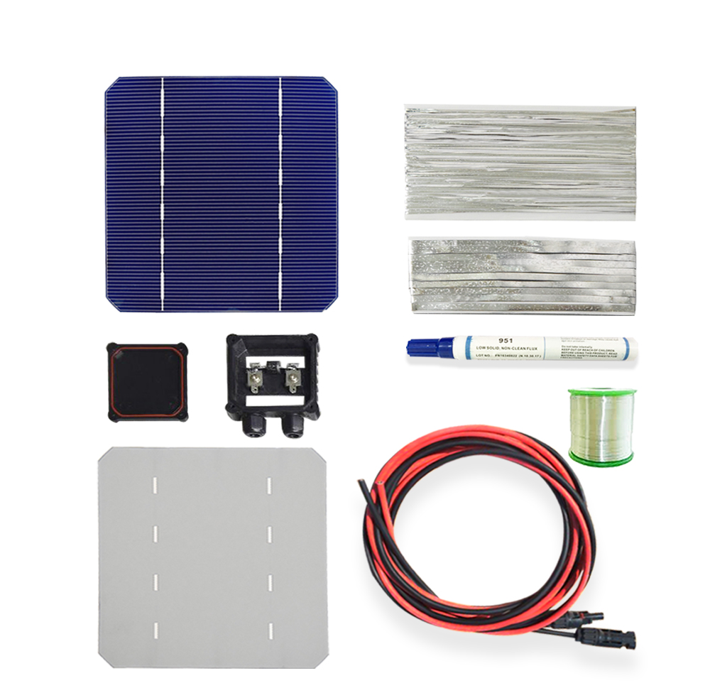 BOGUANG 1x 100W/18V DIY solar panel kits with 125*125mm normal monocrystalline solar cell use flux pen+tab wire+bus+connect