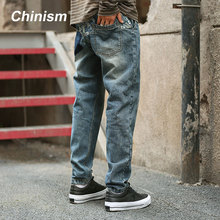 CHINISM 2017 Mens Casual Medium Stonewash Jeans Printed Vaqueros Boutique Jeans Men's Biker Jeans Designer Classical Fashion