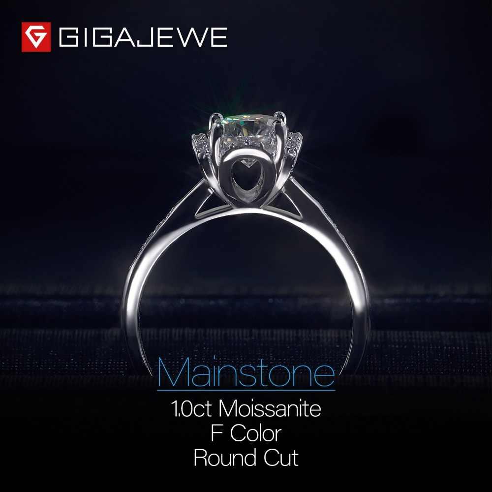 GIGAJEWE Moissanite טבעת 1.2ct VVS1 עגול לחתוך F צבע מעבדת יהלומי 925 כסף תכשיטי אהבת אסימון אישה חברה מתנת חיזור